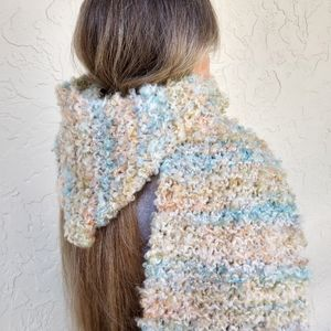 Chunky Knit Hooded Scarf Pastels Beach Blue